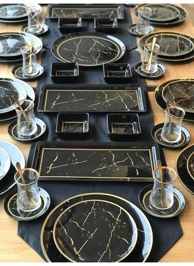ROSSEV Siyah Mermer Kahvaltı Takımı 73 Parça 12 Kişilik Kahvaltı Takımı Renkli